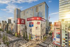Aerial sunset view of the Akihabara Crossing Intersection in the electric town of Tokyo in Japan stock image