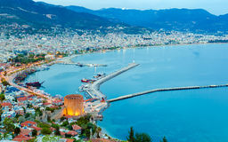 Aerial sunset view of Alanya, Turkey Stock Images