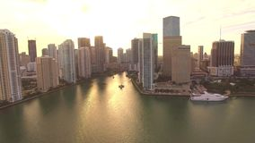 Aerial sunset view Bayfront Park Downtown Miami stock video footage
