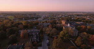 Aerial sunset view of downtown city skyscrapers in Maryville, Tennessee, USA Maryville college 4k stock video