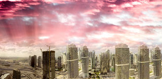 Aerial sunset view of Dubai Jumeirah Lakes Towers, UAE Stock Photography