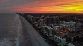 Aerial sunset view of Myrtle Beach in South Carolina.  stock photo