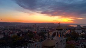 Aerial sunset view over The Cathedral of the Assumption in Varna, Bulgaria stock video footage