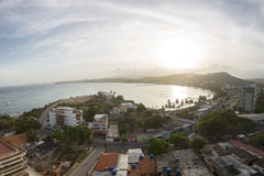 Aerial sunset view of Pampatar bay in Margarita Island. Aerial beautiful sunset view of Pampatar bay in the caribbean sea. Margarita Island. Venezuela 2015 Royalty Free Stock Photos