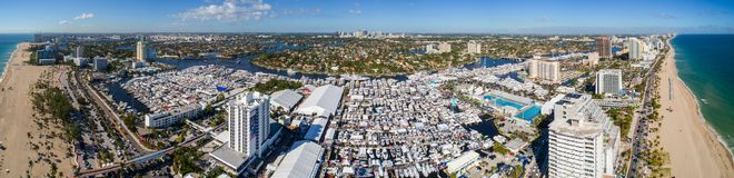 Aerial super panorama Fort Lauderdale Beach Boat Show 2017 Royalty Free Stock Images