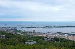 Aerial of Superior Bay and Harbor Stock Photos
