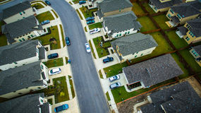 Aerial Surburbia Over Houses neighborhood Community Austin Texas Stock Image