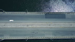 Aerial survey of the automobile bridge stock footage