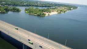 Aerial survey of the automobile bridge stock video footage
