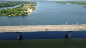 Aerial survey of the automobile bridge stock video
