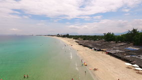 Aerial Survey Beach in Vietnam. Flight over the South China Sea in Vietnam, Bai Dai Beach stock video footage