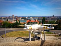 Aerial survey in Budapest city Stock Photo