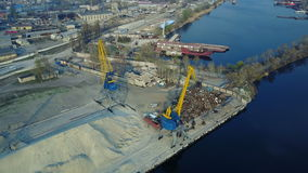 Aerial survey of cargo port stock video