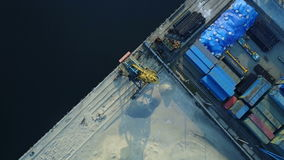 Aerial survey of cargo port stock footage