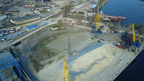 Aerial survey of cargo port stock video footage