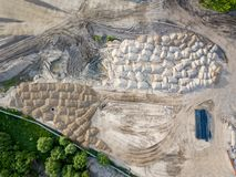 Aerial survey of the construction site on which there are many m royalty free stock photo