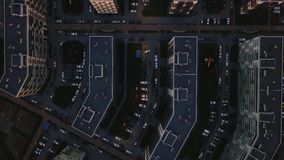 Aerial survey dense building unfavorable area.Top down view gray dirty streets stock video