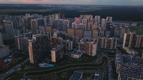 Aerial survey dense building unfavorable area.Top down view gray dirty streets stock footage
