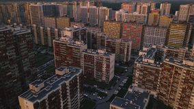 Aerial survey densely built area new city Top down modern district outskirt city stock video