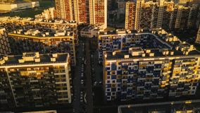 Aerial survey densely built area new city Top down modern district outskirt city stock footage