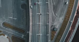 Aerial survey. moving cars on the bridge. modern road. top view. city magistral or street highway for transport. concept. For web background stock video