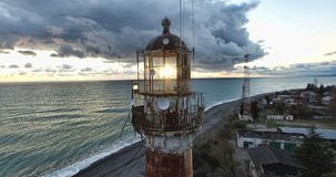Aerial survey of an old lighthouse on the beach in Sukhumi. Abkhazia royalty free stock image