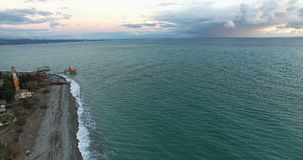 Aerial survey of an old lighthouse on the beach in Sukhumi. Abkhazia royalty free stock images