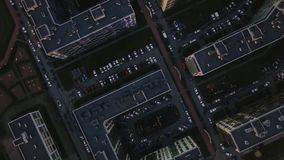 Aerial survey dense building unfavorable area.Top down view gray dirty streets stock video footage