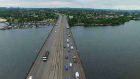 Aerial survey of a road bridge stock video footage