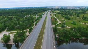 Aerial survey of a road bridge stock video