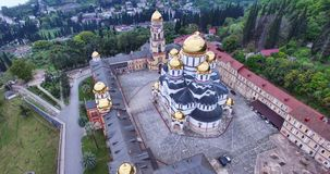 Aerial survey of the sights of New Athos. Abkhazia stock photos