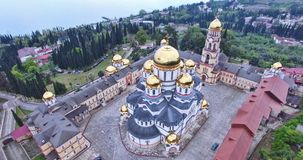 Aerial survey of the sights of New Athos. Abkhazia stock photography