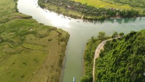 Aerial survey of Vietnam. Aerial survey of Vietnam National park road near Phong Nha caves stock video footage