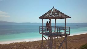 Aerial surveying of the beach with pink sand, bright blue ocean, the two friends are on the beach stand, stock video