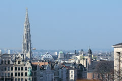 Aerial surveys with helicopter photographed a city. Belgium Brussels city panorama Aerial surveys with helicopter photographed a city, isolated Stock Photos