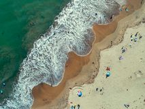 Aerial: Swirling Color Patterns at the Beach royalty free stock photos