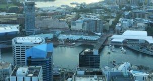 Aerial of Sydney, Australia skyline and waterways 4K