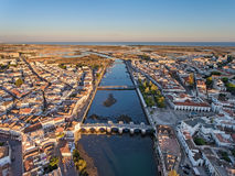 Aerial. Tavira tourist town, filmed from the sky. Royalty Free Stock Image