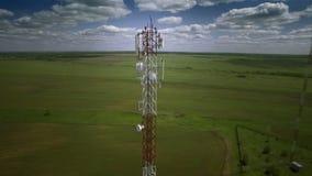 Aerial telecommunication antenna communication celluar cellphone relay tower. Close-up shot. stock video