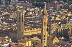 Aerial telephoto view of Florence from one of many towers, Tuscany Stock Photo