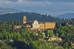 Aerial telephoto view of Florence from one of many towers, Tuscany Royalty Free Stock Photography