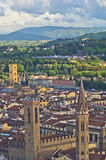 Aerial telephoto view of Florence from one of many towers, Tuscany Royalty Free Stock Photo