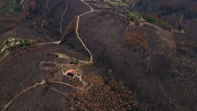 Aerial. Terrific view the burning land. View from the sky. Portugal Monchique. stock footage