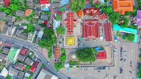 Aerial of Thai Royal Buddhist Temple in Chiang Mai, Thailand 03