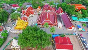 Aerial of Thai Royal Buddhist Temple in Chiang Mai, Thailand 02