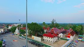 Aerial of Thai Royal Flag at a Royal Buddhist Temple in Chiang Mai, Thailand 01
