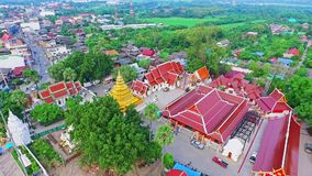 Aerial of Thai Royal Flag at a Royal Buddhist Temple in Chiang Mai, Thailand 02