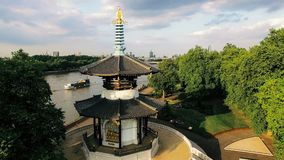 Aerial Thames River View in Battersea Park and Peace Pagoda Temple in London. Aerial View Battersea Park and Peace Pagoda Temple in London. Thames River and Royalty Free Stock Photography
