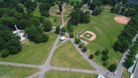 Aerial tilt up Boston Common Park scene 4k stock footage