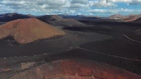 Aerial of Timanfaya, Lanzarote, Canary islands stock video